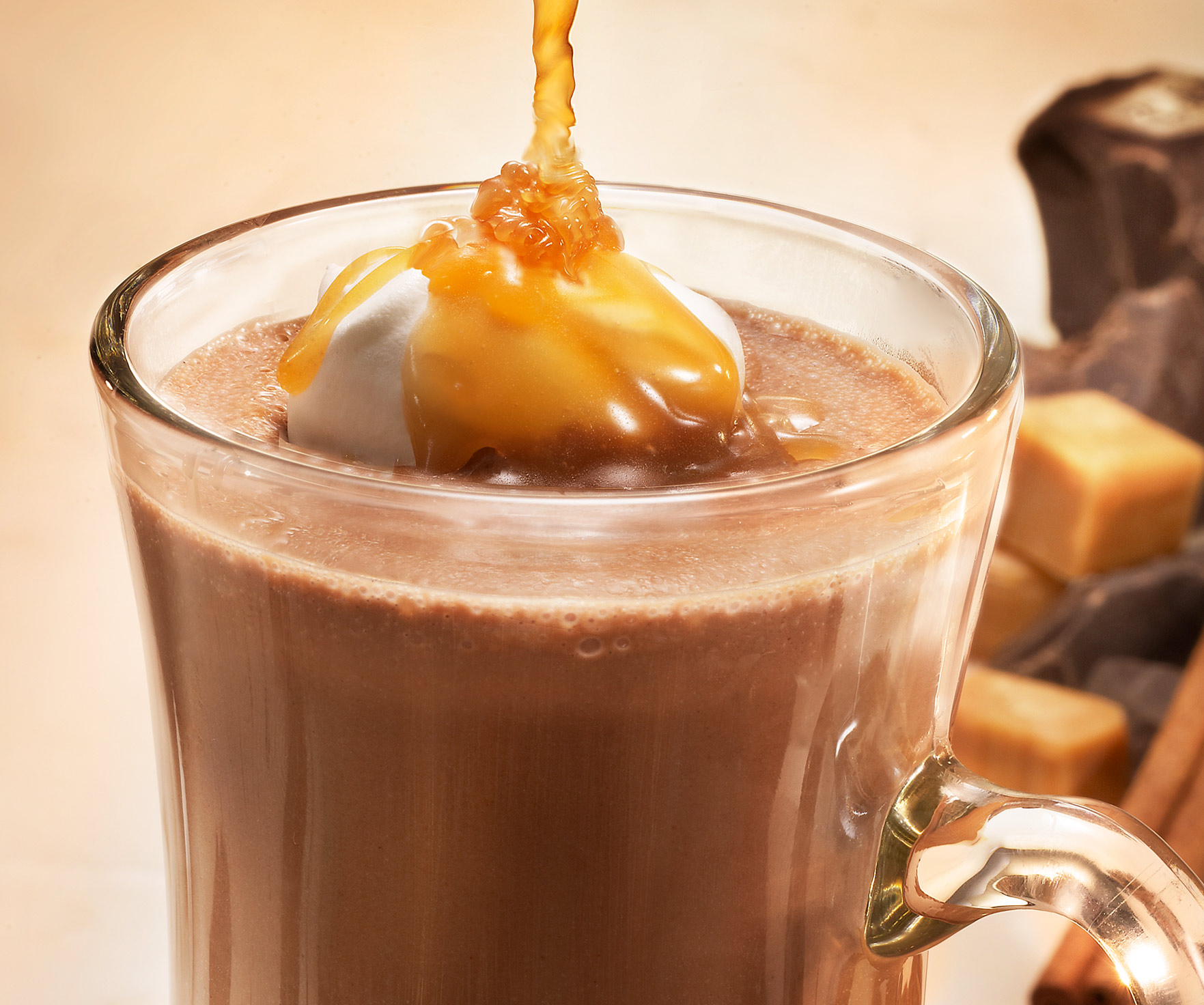 Glasshouse Assignment - David Bishop - Beverage Photography - Hot Chocolate with Caramel Pour