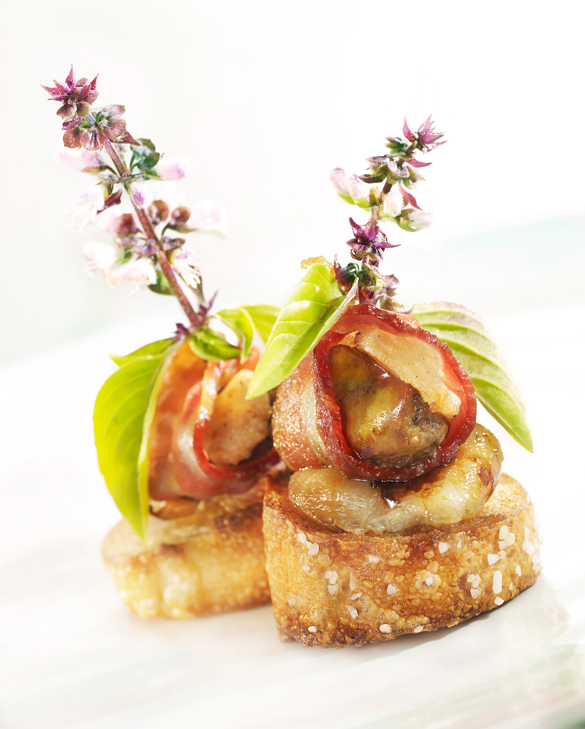 Glasshouse Assignment - David Bishop - Food Photography - Rumaki with Roasted Cipollini and Thai Basil